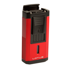 Red and Black Duke Triple Torch Lighter With Cutter, , jrcigars